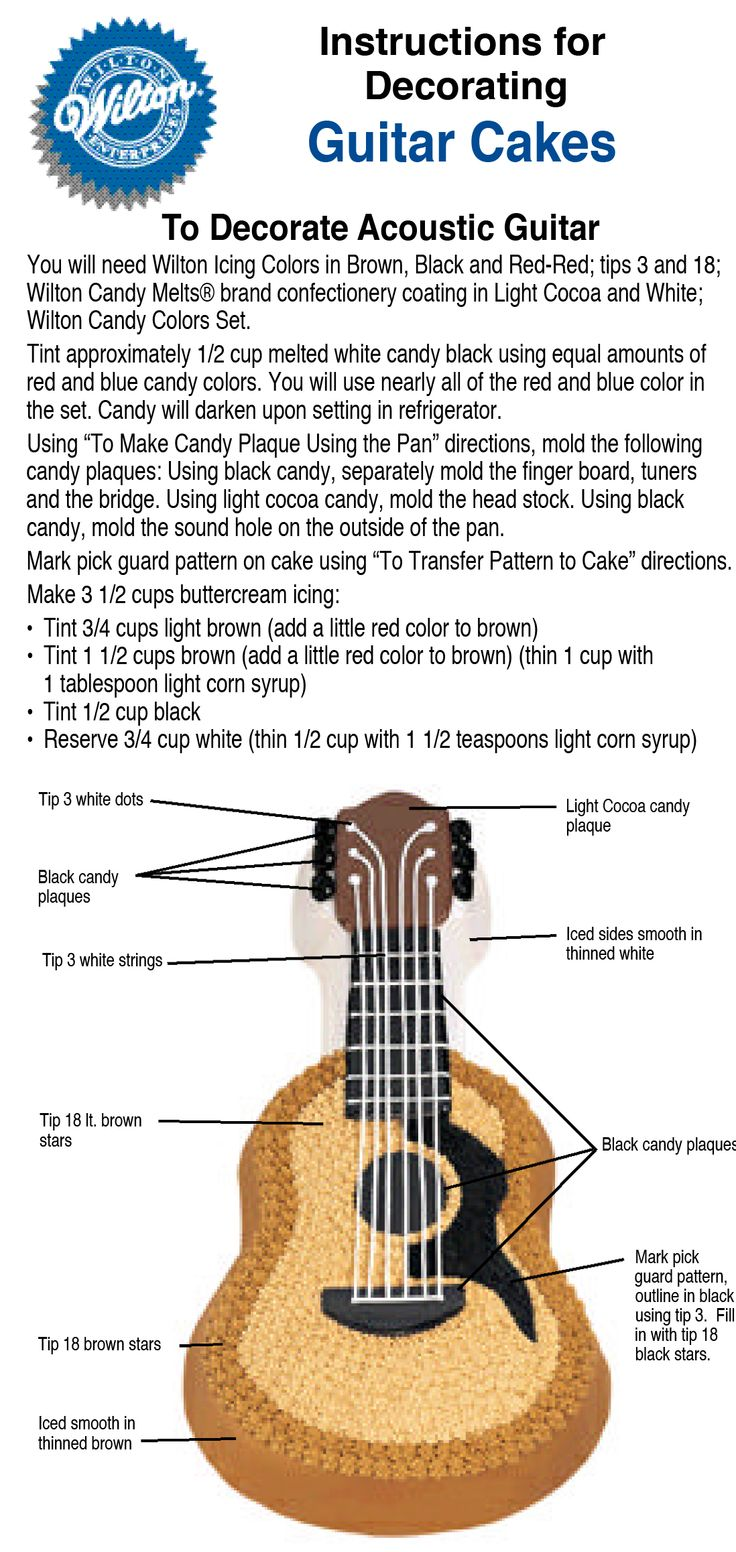 wilton guitar cake decorating instructions