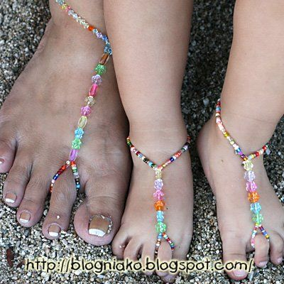instructions on how to make beaded barefoot sandals