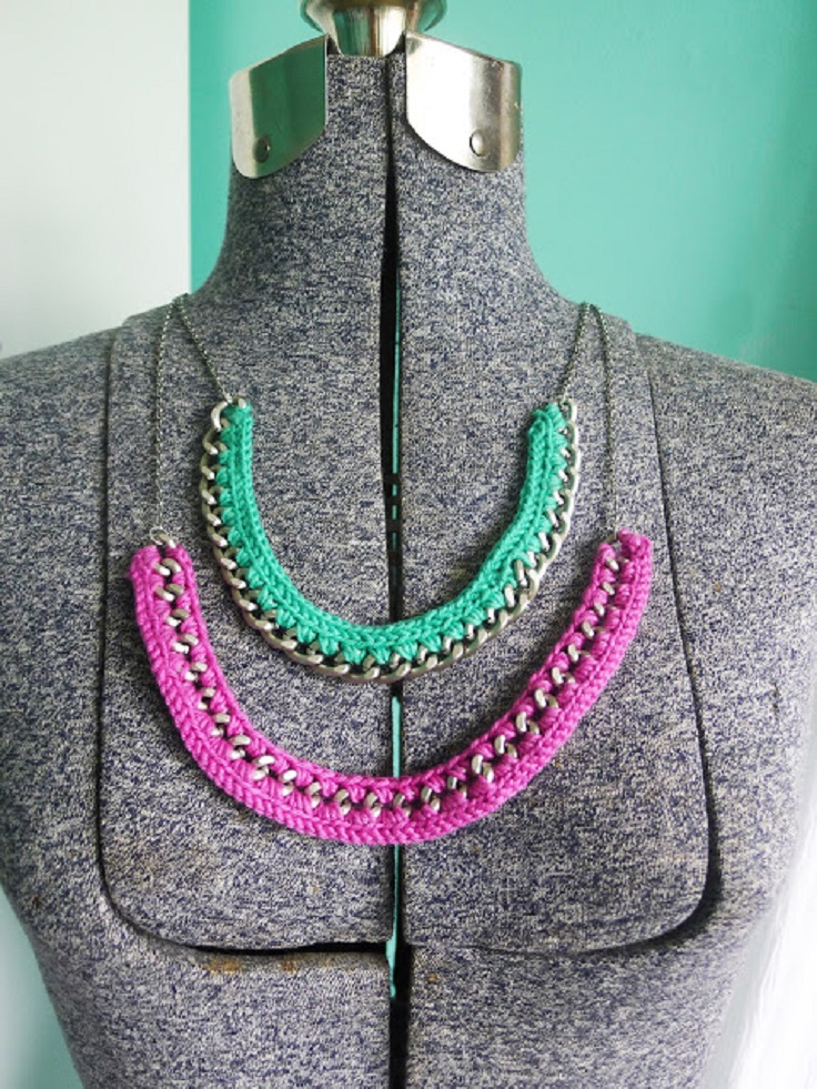 wire crochet bead necklace instructions