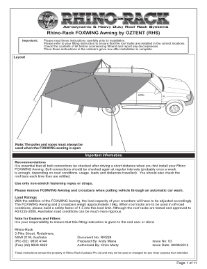 car awning fitting instructions