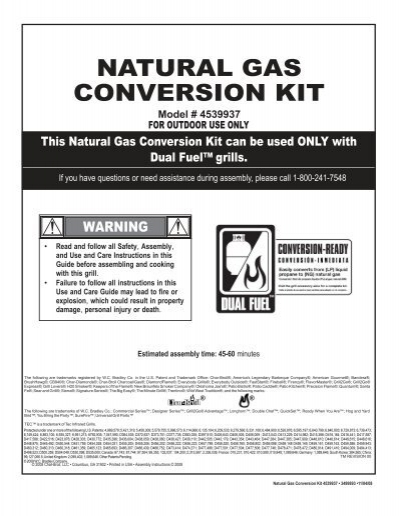 char broil red natural gas conversion kit instructions