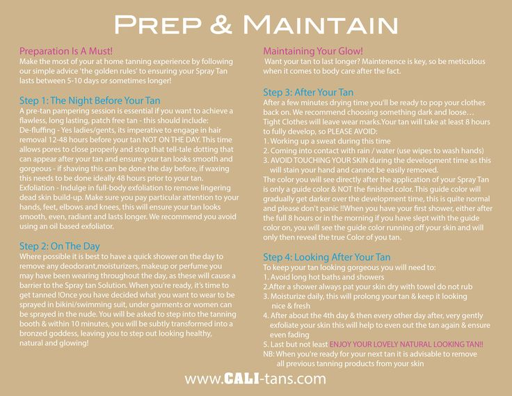 prep instructions for spray tan