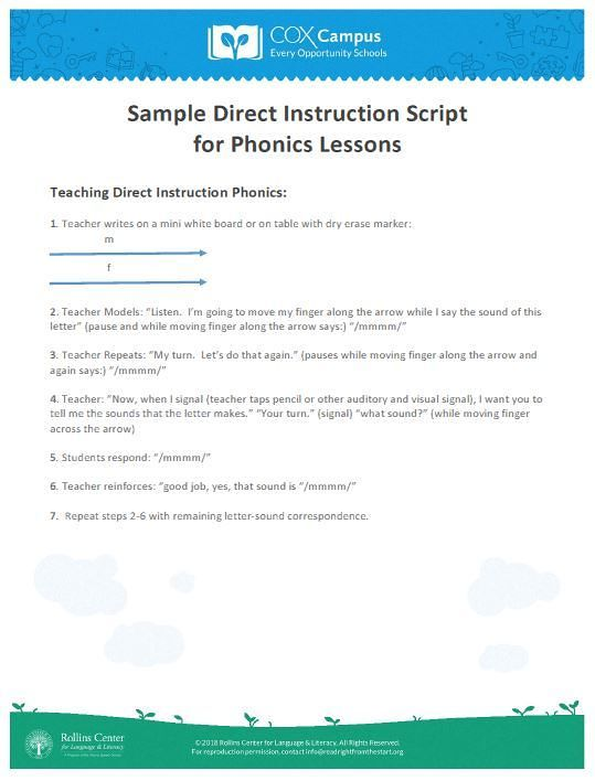 what is direct instruction approach in spelling