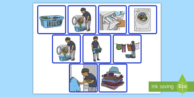 visual step by step instructions for laundry