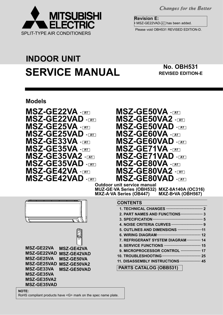 mitsubishi msz-ge50va instructions