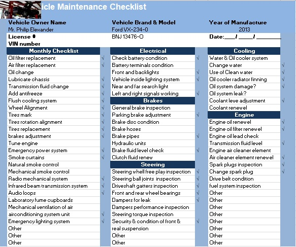 checklist maintenance daily gym instructions