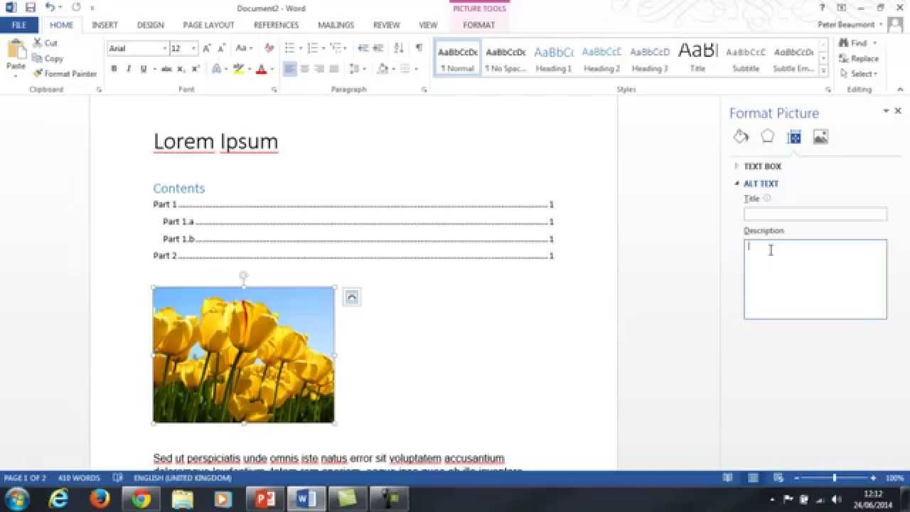 add instructions to an image in word document