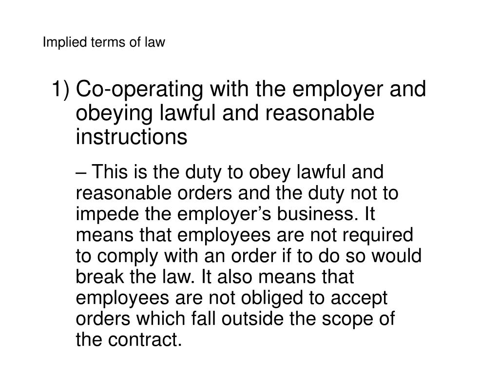 employees obeying lawful instructions