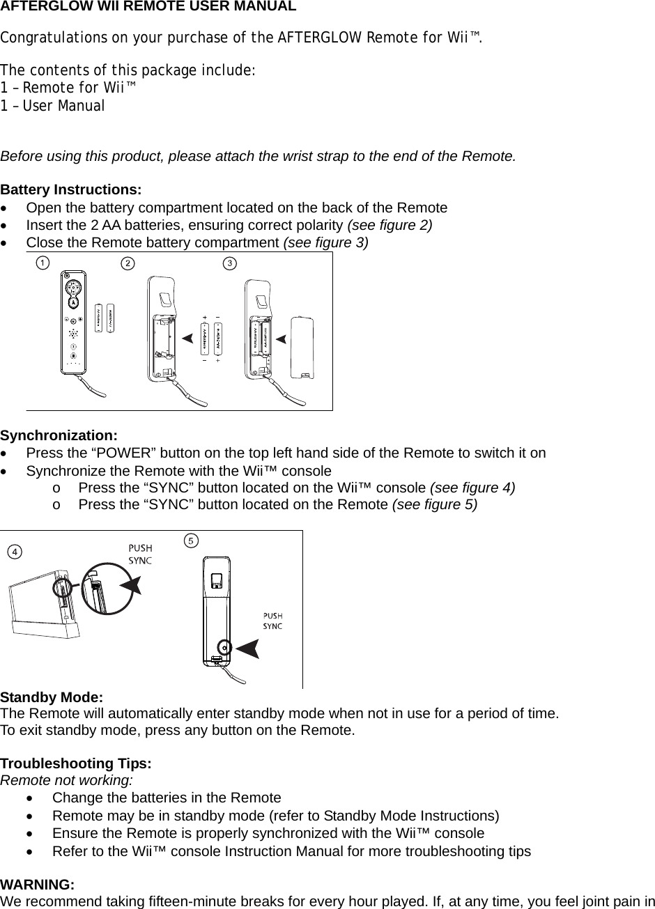 afterglow wii remote instructions