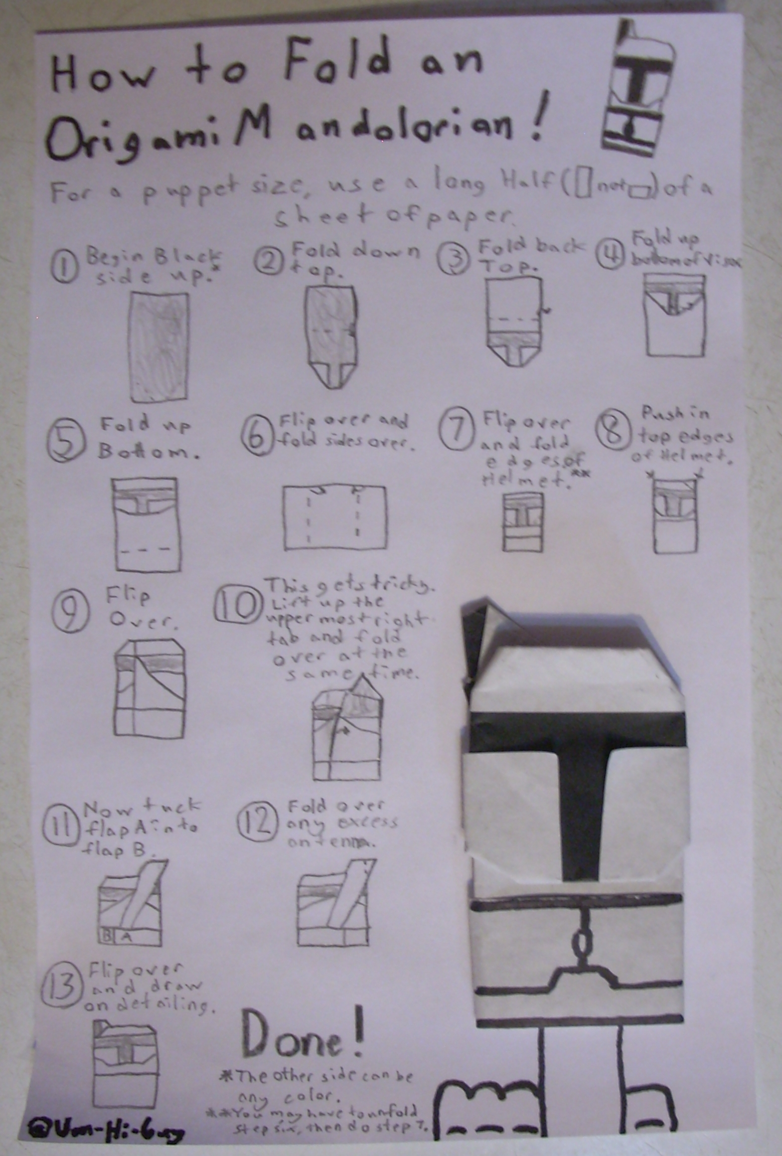 origami stormtrooper finger puppet instructions