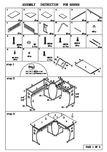 atrium metal and glass l shaped computer desk assembly instructions