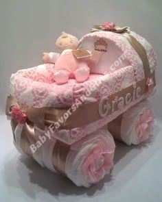 instructions on how to make a diaper cake carriage