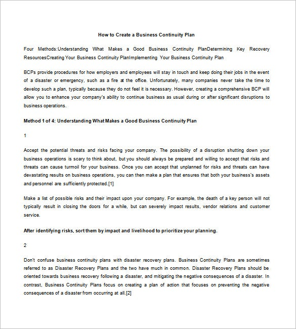 business continuity plan bcp template with instructions and example pdf