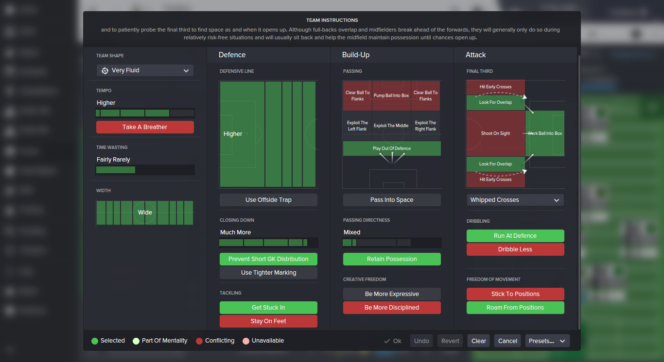 football manager 2016 team instructions