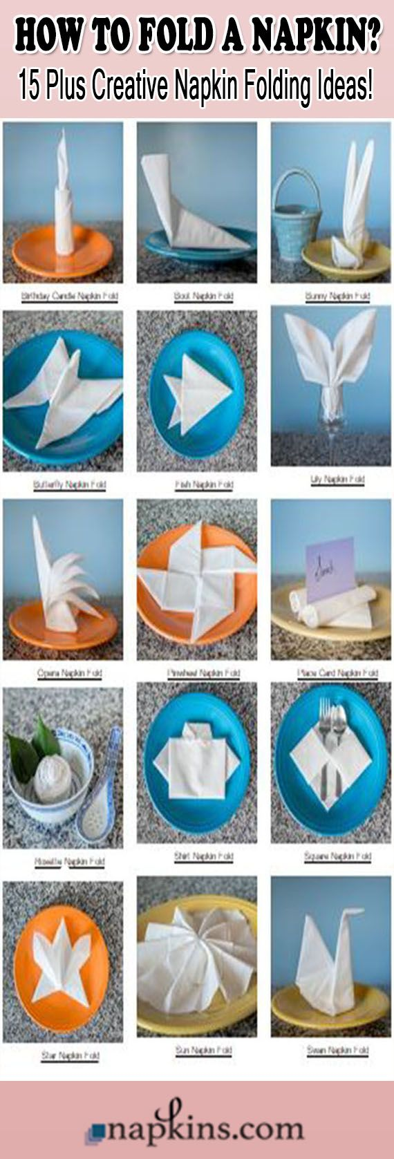 how to fold a crown napkin written instructions