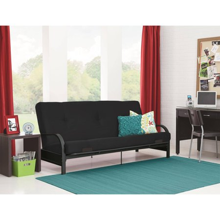 mainstays black metal arm futon with full size mattress instructions