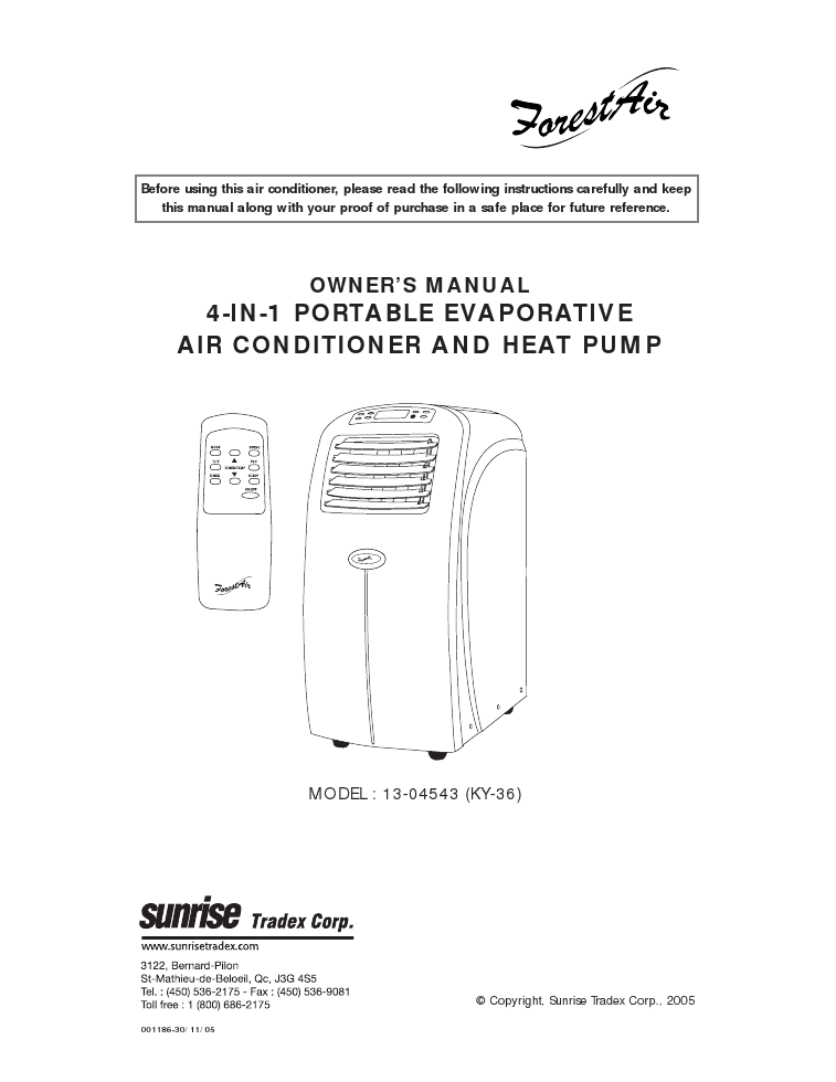 operating instructions for evaporative air conditioner