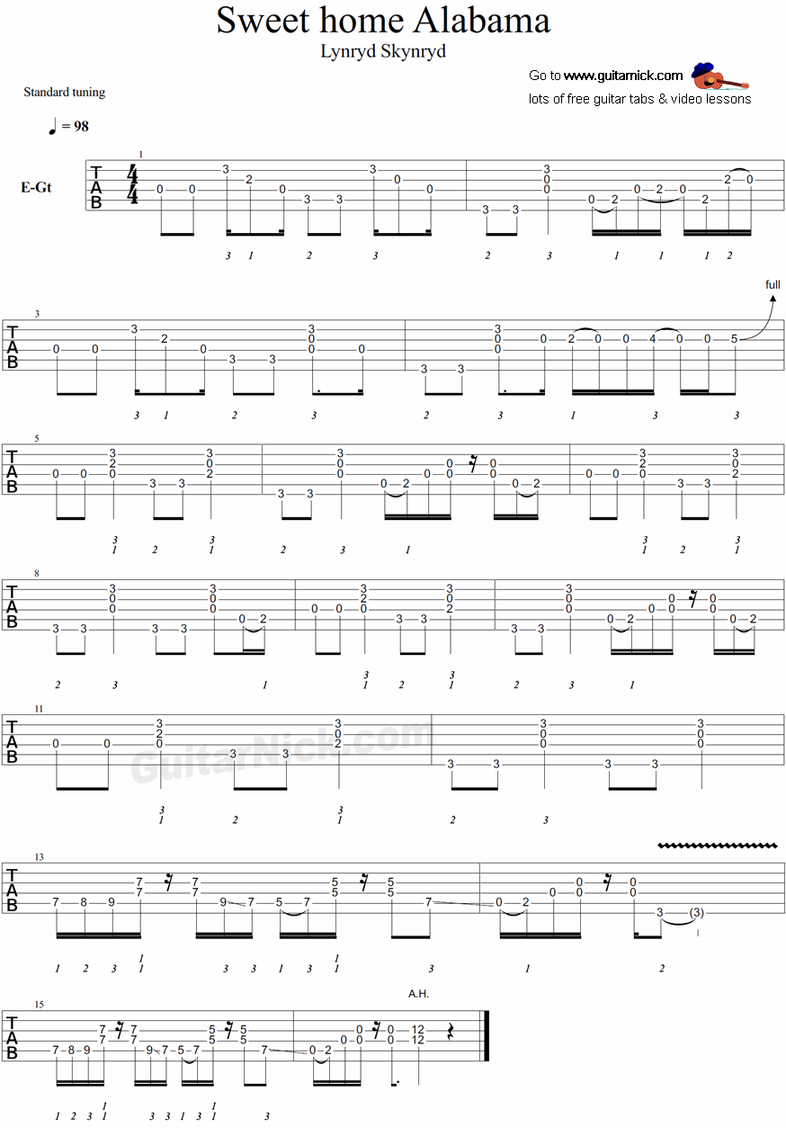 guitar instruction for lynyrd skynyrd song sweet home alabama