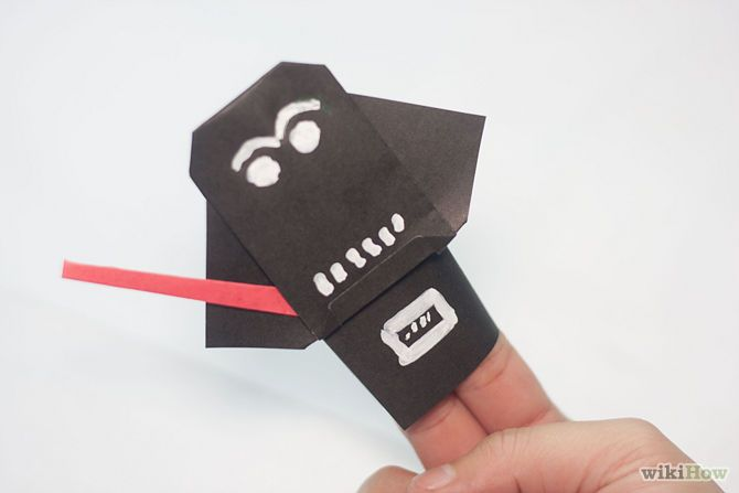 how to make origami darth vader finger puppet instructions
