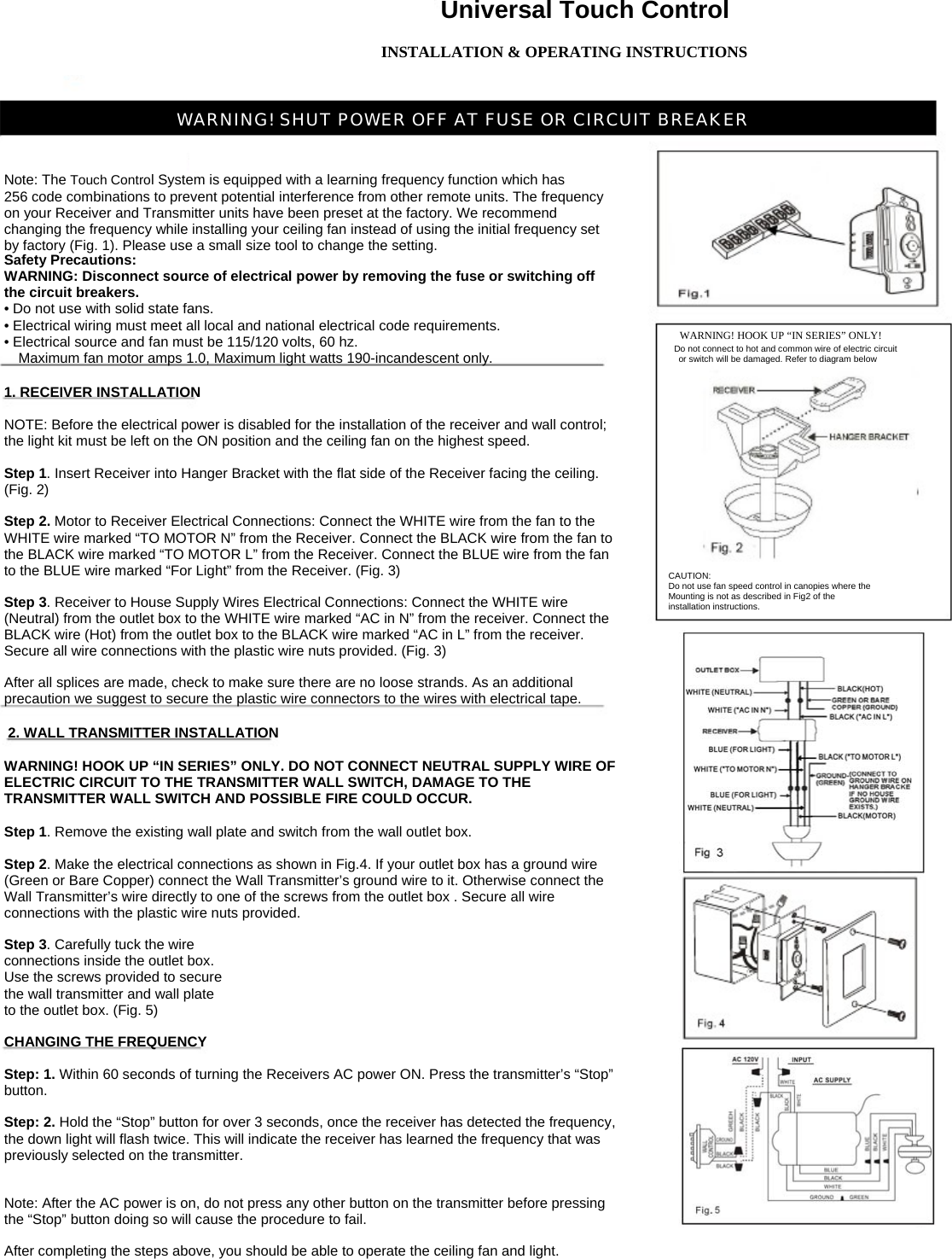 hunter fan wall control instructions 24794