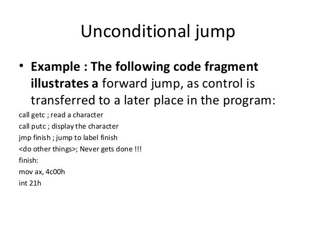 implement the unconditional jump instruction