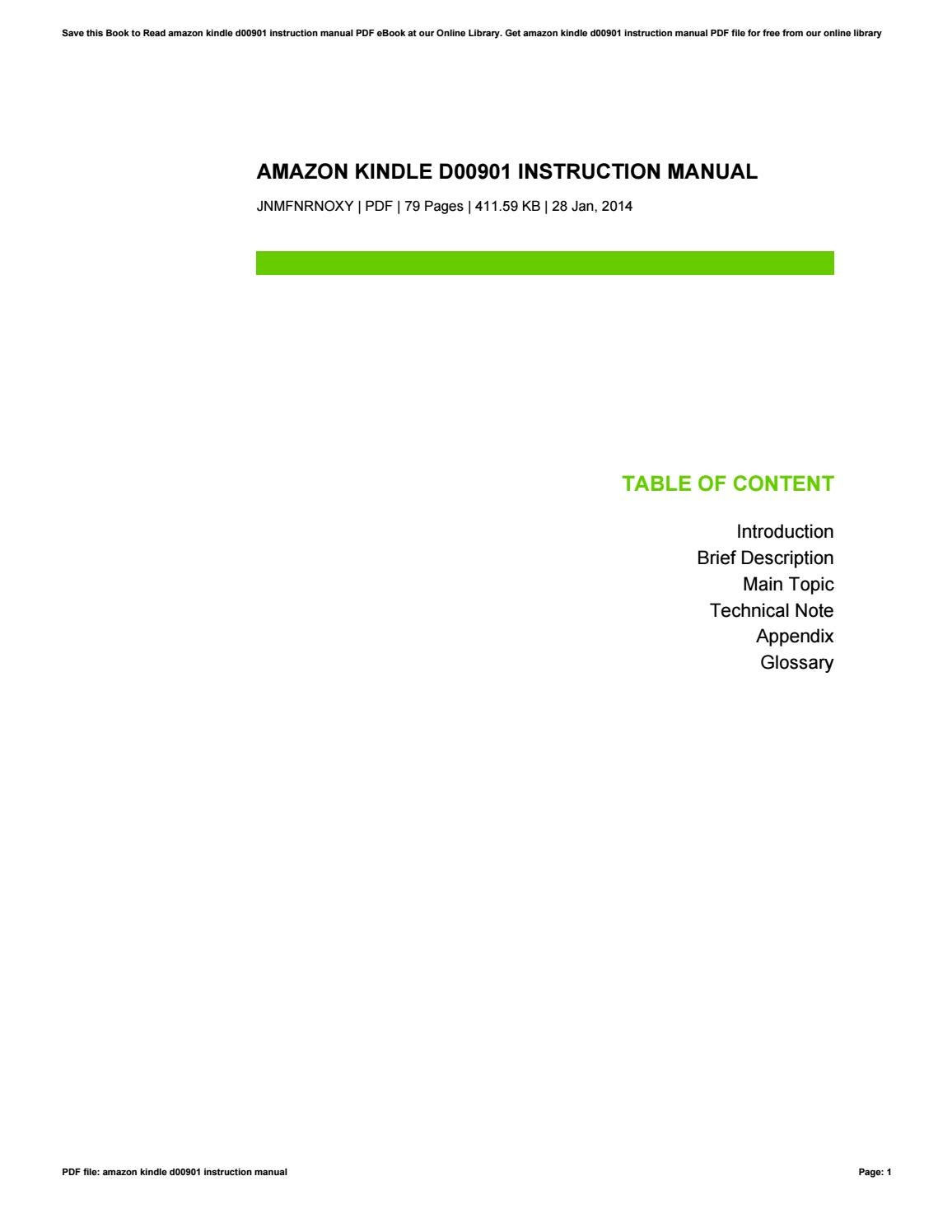 instruction manual for kindle d00901