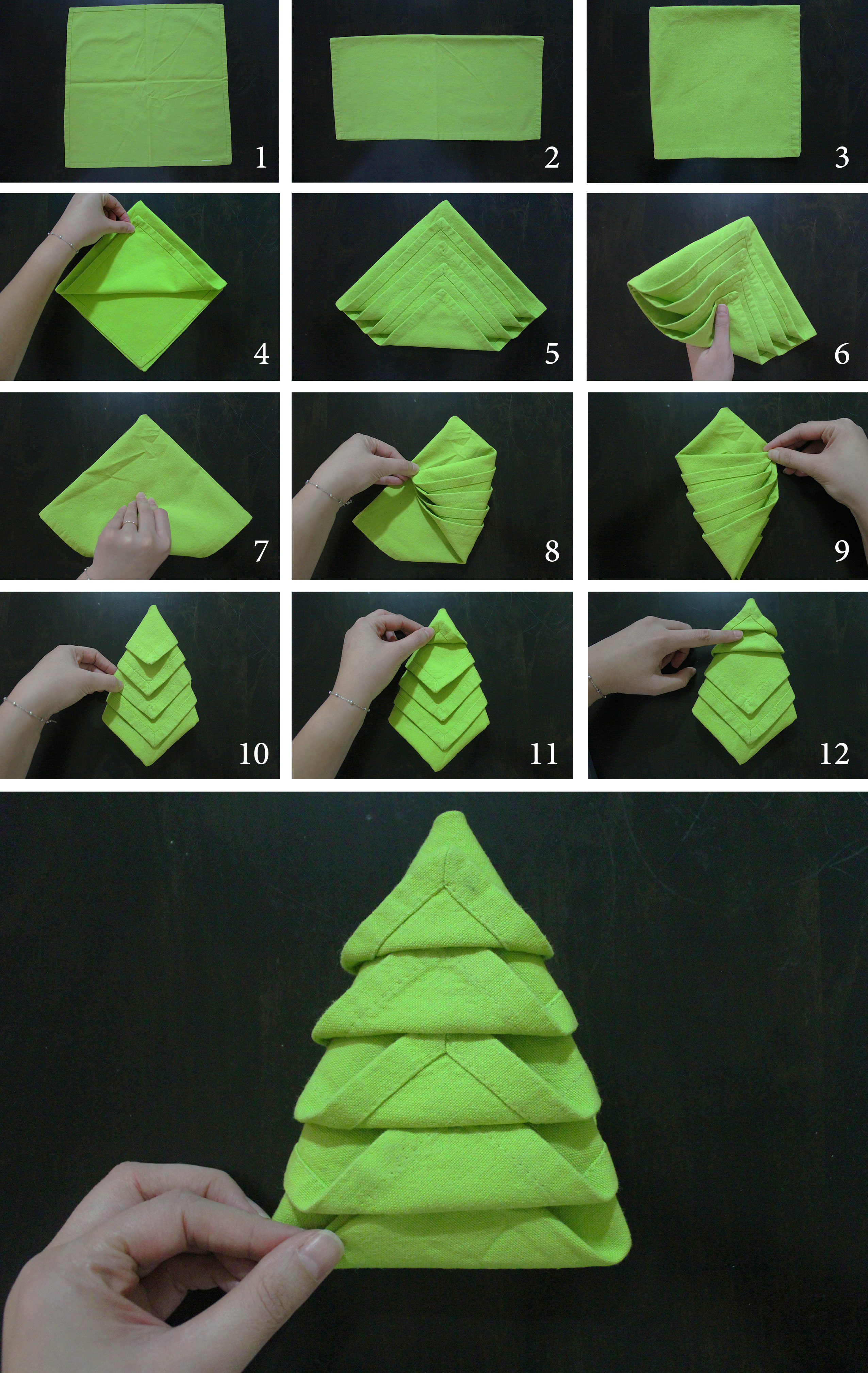 instructions for paper folded christmas tree