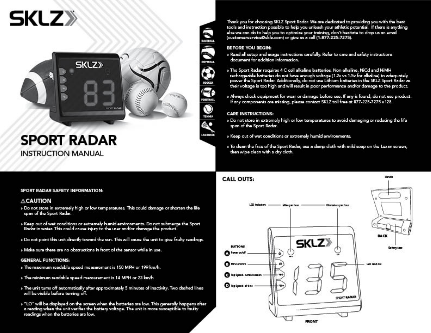 sklz sport radar instructions