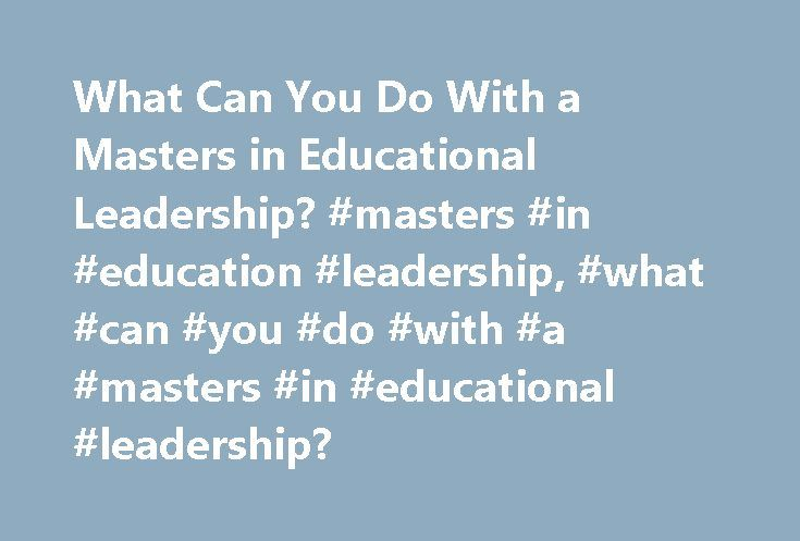 what can you do with a masters in instructional leadership